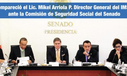 Compareció el Lic. Mikel Andoni Arriola Peñalosa, Director General del Instituto Mexicano del Seguro Social ante la Comisión de Seguridad Social del Senado