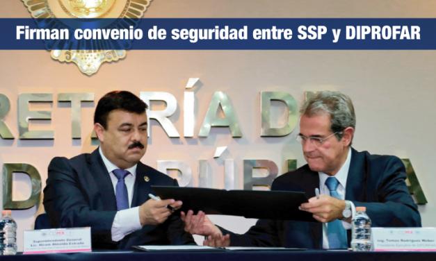 Firman convenio de seguridad entre SSP y DIPROFAR.