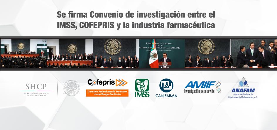 Se firma Convenio de investigación entre el IMSS, COFEPRIS y la industria farmacéutica