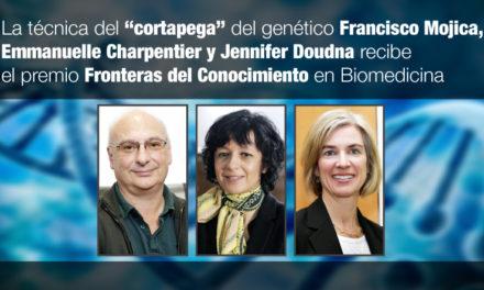 """La técnica del """"cortapega"""" del genético Francisco Mojica, Emmanuelle Charpentier y Jennifer Doudna recibe el premio Fronteras del Conocimiento en Biomedicina"""