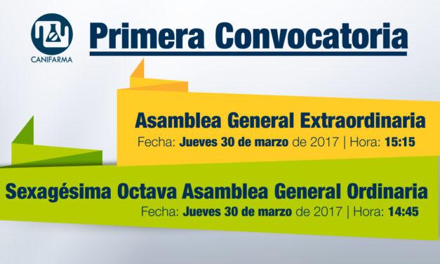"<p class=""p1""><span class=""s1""><strong>Primera Convocatoria</strong><b> |</b></span><span class=""s1"">Asamblea General Extraordinaria y</span><span class=""s1"">Sexagésima Octava Asamblea General Ordinaria</span></p>"
