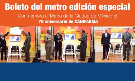 Conmemora el Metro de la Ciudad de México el 70 aniversario de CANIFARMA con un boleto edición especial
