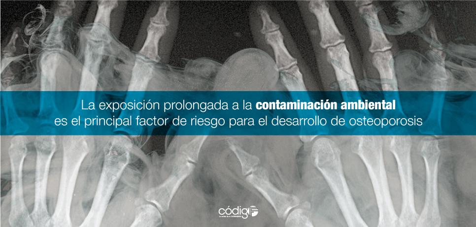 La exposición prolongada a la contaminación ambiental es el principal factor de riesgo para el desarrollo de osteoporosis