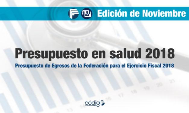 Presupuesto en salud 2018   Presupuesto de Egresos de la Federación para el Ejercicio Fiscal 2018